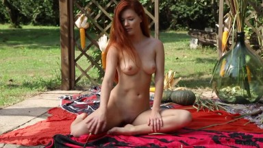 MetArt • Mia Sollis • RedHead in Nature • Red-haired girl is naughty in nature